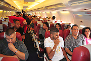 Cabin crew and passengers aboard a Sky Airlines flight to Antalya Turkey out of Tel Aviv