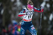 KUUSAMO, FINLAND - 2017-11-26: Sadie Bjornsen, USA under damernas l&auml;ngdkid&aring;kning 10km jaktstart under FIS World Cup Ruka Nordic p&aring; Ruka Stadium den 26 November, 2017 i Kuusamo, Finland.<br /> Foto: Nils Petter Nilsson/Ombrello<br /> ***BETALBILD***