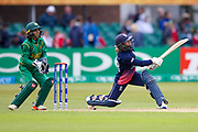 England womens cricket player Danielle Wyatt hits a six  during the ICC Women's World Cup match between England and Pakistan at the Fischer County Ground, Grace Road, Leicester, United Kingdom on 27 June 2017. Photo by Simon Davies.