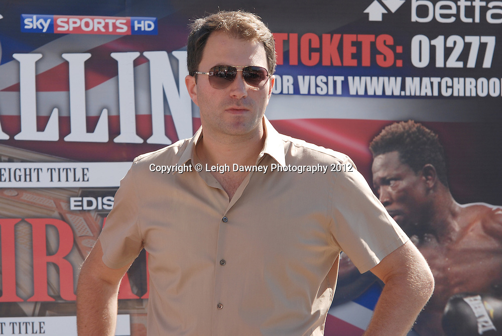 Eddie Hearn at The Weigh In at Alexandra Palace, Muswell Hill, North London on Friday 7th September 2012. Matchroom Sport. Pictures ©Leigh Dawney Photography 2012.