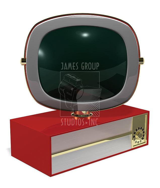 A Retro 50's/60's era television fashioned in the style of the Philco Predicta series