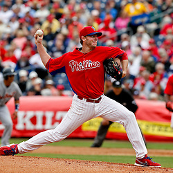 Mar 12, 2013; Clearwater, FL, USA;  Philadelphia Phillies starting pitcher Roy Halladay (34) throws against the Detroit Tigers during the top of the third inning of a spring training game at Bright House Field. Mandatory Credit: Derick E. Hingle-USA TODAY Sports