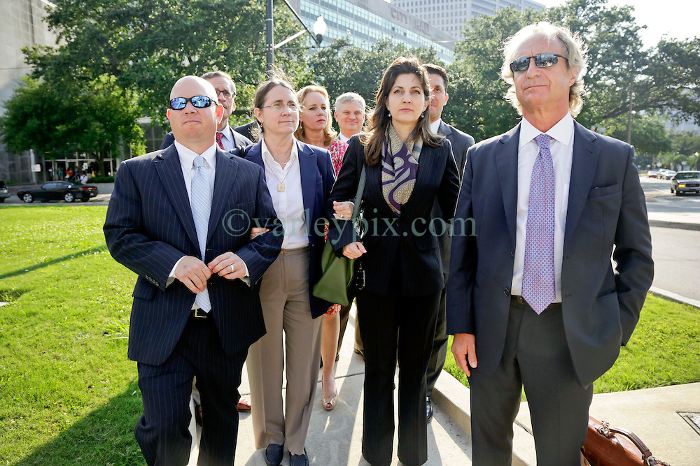 03 June  2015. New Orleans, Louisiana. <br /> L/R Ryan LeBlanc, his mother Renee LeBlanc, Rita Benson LeBlanc and attorney Randy Smith leave Civil Distrcit Court where they attended day 3 of a hearing to determine the competency of grandfather/father Tom Benson. Benson is the billionaire owner of the NFL New Orleans Saints, the NBA New Orleans Pelicans, various auto dealerships, banks, property assets and a slew of business interests. Rita, her brother and mother demanded a competency hearing after Benson changed his succession plans and decided to leave the bulk of his estate to third wife Gayle, sparking a controversial fight over control of the Benson business empire.<br /> Photo&copy;; Charlie Varley/varleypix.com