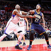 02 December 2015: Los Angeles Clippers center Josh Smith (5) vies for the rebound with Indiana Pacers center Jordan Hill (27) during the Indiana Pacers 103-91 victory over the Los Angeles Clippers, at the Staples Center, Los Angeles, California, USA.