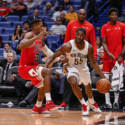 Oct 3, 2017; New Orleans, LA, USA; New Orleans Pelicans guard E'Twaun Moore (55) against the Chicago Bulls during a NBA preseason game at the Smoothie King Center. The Bulls defeated the Pelicans 113-109. Mandatory Credit: Derick E. Hingle-USA TODAY Sports