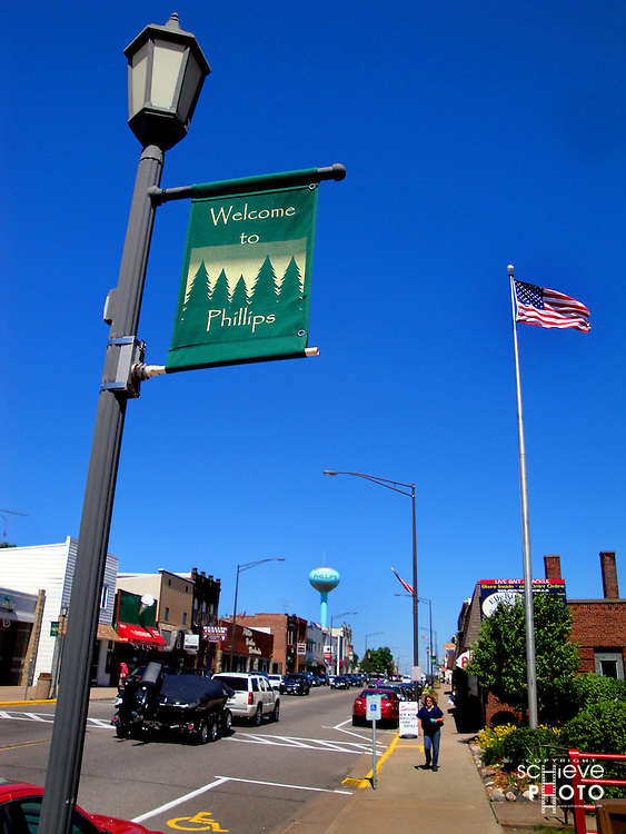 Downtown Phillips, Wisconsin.