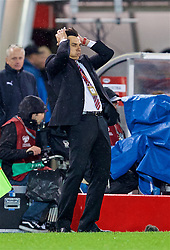 VIENNA, AUSTRIA - Thursday, October 6, 2016: Wales' manager Chris Coleman reacts during the 2018 FIFA World Cup Qualifying Group D match against Austria at the Ernst-Happel-Stadion. (Pic by David Rawcliffe/Propaganda)