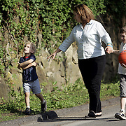 "Mount Kisco, NY / 2007 - Amy Capobianco-Diaz is the mother of two children, Matthew, 4, left, who is autistic, and Michael, 9 who is not autistic. Capobianco-Diaz developed an educational program called ""Kind Find"" designed to create case files to help law enforcement officers deal with - and better understand - autistic children and young adults with autism. ( Mike Roy / The Journal News )"