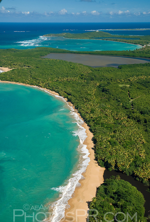 Aerial view of Puerto Rico's magnificent North-East shoreline