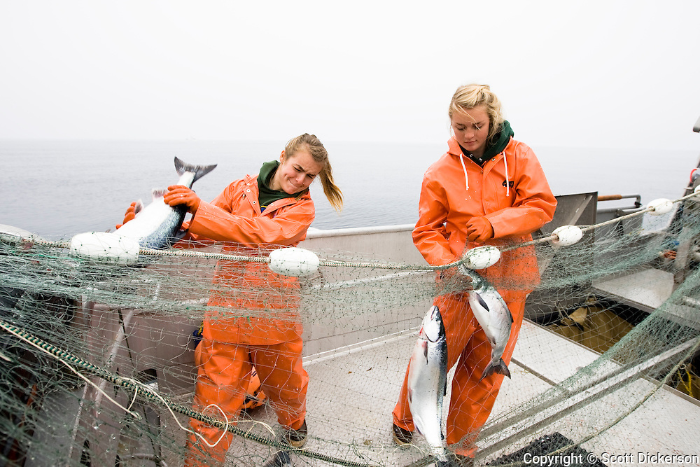 Claire and Emma Teal Laukitis pick fish from the gillnet while commercial sockeye salmon fishing in the Eastern Aleutian Islands, area M, region aboard the F/V Lucky Dove.