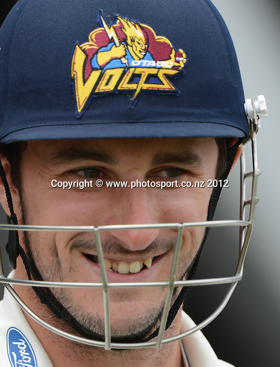 Otago's Hamish Rutherford. Plunket Shield Cricket, Auckland Aces v Otago Volts at Eden Park Outer Oval. Auckland on Tuesday 4 December 2012. Photo: Andrew Cornaga/Photosport.co.nz