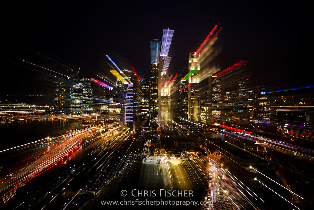 Singapore skyline zoom effect at night.