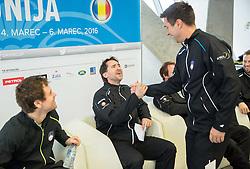 Blaz Trupej and Ziga Janskovec  during press conference of Slovenian Men Tennis Team for Davis Cup Romania vs Slovenia competition, on February 24, 2016 in Kristalna palaca, Ljubljana, Slovenia. Photo by Vid Ponikvar / Sportida