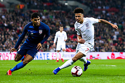 Jadon Sancho of England takes on Weston McKennie of USA - Mandatory by-line: Robbie Stephenson/JMP - 15/11/2018 - FOOTBALL - Wembley Stadium - London, England - England v United States of America - International Friendly