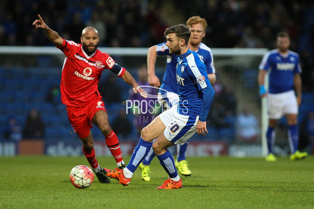 Chesterfield FC midfielder Jay O'Shea wins possession during the The FA Cup match between Chesterfield and Walsall at the Proact stadium, Chesterfield, England on 5 December 2015. Photo by Aaron Lupton.