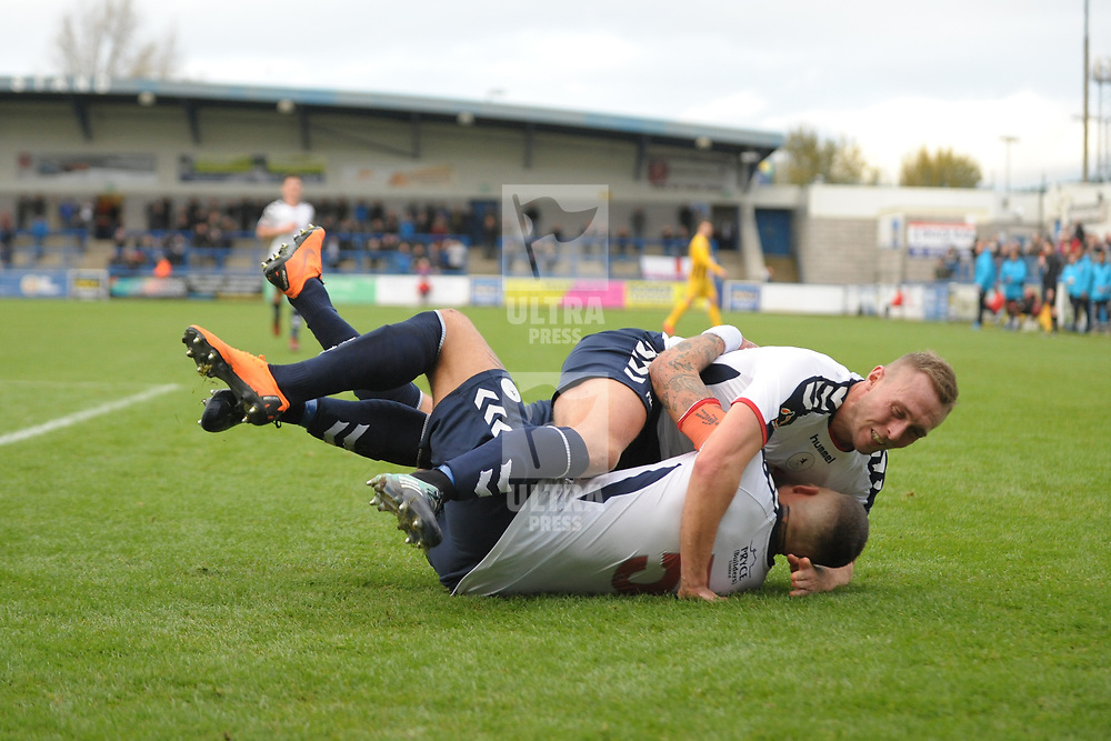TELFORD COPYRIGHT MIKE SHERIDAN 10/11/2018 - GOAL. Jon Royle of AFC Telford congratulates Shane Sutton after he scores to make it 1-0 during the Vanarama Conference North fixture between AFC Telford United and Boston United.