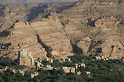 Dar al-Hajar, the residence of Imam Yahya in the Wadi Dhar near San?a?. Looking down into the Wadi. Morning.