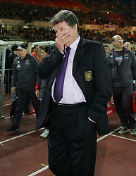 VIENNA, AUSTRIA - WEDNESDAY MARCH 30th 2005: Wales' manager John Toshack looks dejected after losing 1-0 Austria during the World Cup Qualifying Group Six match at the Ernst Happel Stadium. (Pic by David Rawcliffe/Propaganda)