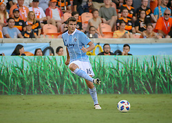 July 18, 2018 - Houston, TX, U.S. - HOUSTON, TX - JULY 18:  Sporting Kansas City midfielder Graham Smith (16) passes the ball during the US Open Cup Quarterfinal soccer match between Sporting KC and Houston Dynamo on July 18, 2018 at BBVA Compass Stadium in Houston, Texas. (Photo by Leslie Plaza Johnson/Icon Sportswire) (Credit Image: © Leslie Plaza Johnson/Icon SMI via ZUMA Press)