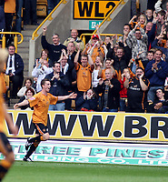 Photo: Mark Stephenson.<br /> Wolverhampton Wanderers v Norwich City. Coca Cola Championship. 22/09/2007.Wolve's Kevin Foley celebrates his goal for 1-0
