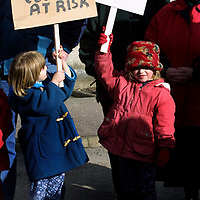 Aberfeldy depot protest...16.3.2001.<br />Aberfeldy children Samantha Decks,5, left, and Elan Bryson,4, two of the children on the march.<br /><br />Picture by John Lindsay.<br />COPYRIGHT: Perthshire Picture Agency<br />Tel: 01738 623350  Mob: 07775 852112