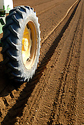 Israel, Negev Desert, Tractor plants seeds in a field
