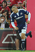 Bryan Habana runs onto Suncorp Stadium for the Stormers during action from Round 11 of the Super 14 Rugby Union match between the Queensland Reds and the South African Stormers played at Suncorp Stadium on Friday 23 April 2010 ~ ©Image Aura Images.com.au ~ Conditions of Use: This image is intended for Editorial use as news and commentry in print, electronic and online media ~ For any alternative use please contact AURA Images.com.au