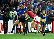 France wing Brice Dulin prepares to offload following a tackle from Canada wing DTH van der Merwe during the Rugby World Cup 2015 Pool D match (22) between France and Canada at Stadium MK, Milton Keynes, England on 1 October 2015. Photo by David Charbit.