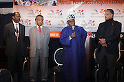 """l to r: Ron Daniels, Rev. Al Sharpton, Former President of Nigeria, The Honorable Olusegun Obasanjo, and Rev. Jesse Jackson at the opening reception of The 12th Annual RainbowPUSH Wall Street Project Economic Summit """" Fallout From The Bailout: A New Day in Washington """""""