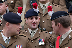 © Licensed to London News Pictures. 05/09/2018. London, UK.  Fulisiers prepare to join 500 serving and retired personnel from the Royal Regiment of Fusiliers take part in a privilege parade to commemorate the Regiment's 50th anniversary. Privileges allow the Regiment to exercise its right to march through the City of London with drums beating, colours flying and bayonets fixed in a parade from the Tower of London in Tower Hamlets to the Guildhall in the City of London.  Photo credit: Vickie Flores/LNP