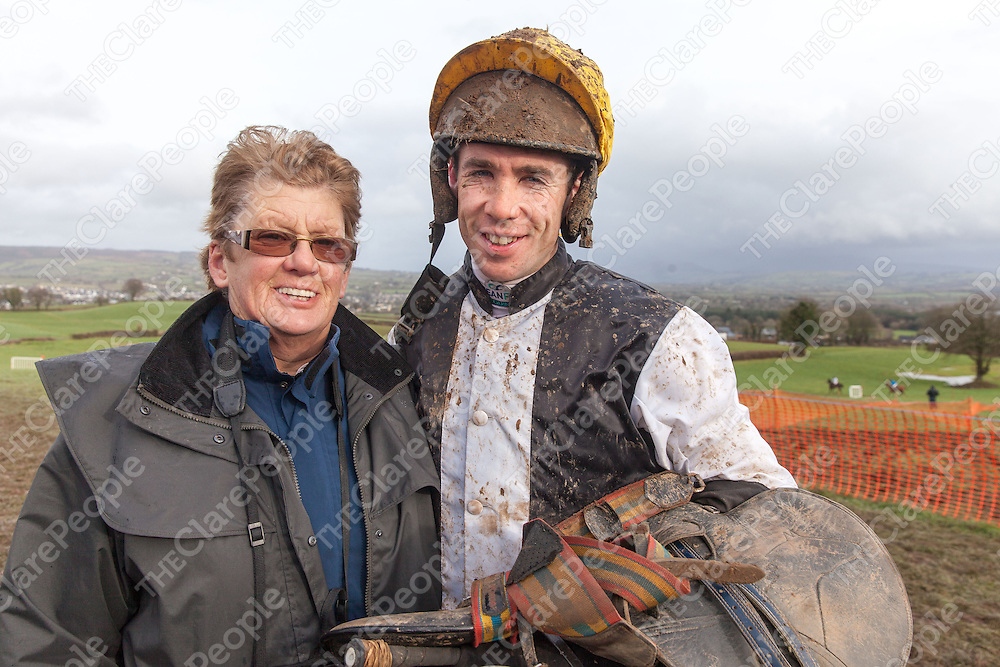 Derek O'Connor with his Mother Jean, after racing in the East Clare Harriers 2015 Killaloe point to point, Derek recently rode a record breaking 1000 wins