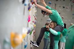 Domen Skofic, Janja Garnbret, during Slovenija Pleza event when presented Slovenian Olympic Climbing Team for Olympic Games Tokio 2020, on April 12, 2017 in Plezalni center Ljubljana, Ljubljana, Slovenia. Photo by Anze Petkovsek / Sportida
