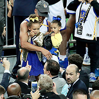 12 June 2017: Golden State Warriors guard Stephen Curry (30) is seen with her daughters during the Golden State Warriors 129-120 victory over the Cleveland Cavaliers, in game 5 of the 2017 NBA Finals, at the Oracle Arena, Oakland, California, USA.