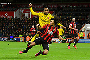 Joe Willock (28) of Arsenal challenges Nathan Ake (5) of AFC Bournemouth during the The FA Cup match between Bournemouth and Arsenal at the Vitality Stadium, Bournemouth, England on 27 January 2020.