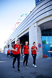 ASTANA, KAZAKHSTAN - Sunday, September 17, 2017: Wales' goalkeeper Laura O'Sullivan, captain Sophie Ingle and Angharad James before the FIFA Women's World Cup 2019 Qualifying Round Group 1 match between Kazakhstan and Wales at the Astana Arena. (Pic by David Rawcliffe/Propaganda)