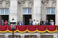 Royal Family, Prince Michael of Kent, Princess Michael of Kent, Prince Edward, Charles Prince of Wales, Camilla Duchess of Cornwall, Elizabeth II The Queen, Meghan Duchess of Sussex, Prince Harry Duke of Sussex, Prince William Duke of Cambridge, Catherine Duchess of Cambridge, Anne Princess Royal, Vice Admiral Sir Timothy Laurence, Prince Richard Duke of Gloucester, Birgitte Duchess of Gloucester, Prince Edward Duke of Kent, Katharine Duchess of Kent, RAF100 Parade and Flypast, The Mall & Buckingham Palace, London, UK, 10 July 2018, Photo by Richard Goldschmidt, Royal Air Force Centenary parade and flypast of RAF aircraft over London.