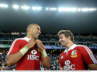 15 June 2013; Simon Zebo, left, and Leigh Halfpenny, British & Irish Lions, following their side's victory. British & Irish Lions Tour 2013, NSW Waratahs v British & Irish Lions, Allianz Stadium, Sydney, NSW, Australia. Picture credit: Stephen McCarthy / SPORTSFILE