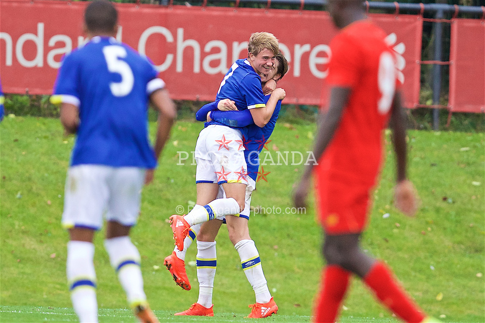 KIRKBY, ENGLAND - Saturday, September 24, 2016: Everton's Daniel Bramall celebrates scoring the third goal against Liverpool to make the score 3-1 during the Under-18 FA Premier League match at the Kirkby Academy. (Pic by David Rawcliffe/Propaganda)