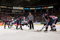 KELOWNA, CANADA - DECEMBER 29: Liam Kindree #26 of the Kelowna Rockets lines up for the face off against Brodi Stuart #17 of the Kamloops Blazers  on December 29, 2018 at Prospera Place in Kelowna, British Columbia, Canada.  (Photo by Marissa Baecker/Shoot the Breeze)