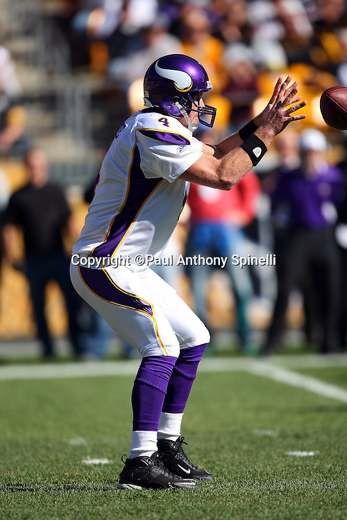 Minnesota Vikings quarterback Brett Favre (4) reaches for a shotgun snap during the NFL football game against the Pittsburgh Steelers, October 25, 2009 in Pittsburgh, Pennsylvania. The Steelers won the game 27-17. (©Paul Anthony Spinelli)