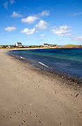Sandy beach and sea shore, Melby, near Sandness, Mainland, Shetland Islands, Scotland