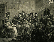 Sarah Martin (1791-1843) English prison visitor reading to prisoners.