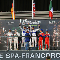 LMGTE Pro Podium #66, Ford Chip Ganassi Team UK, Ford GT, LMGTE Pro, driven by: Stefan Mucke, Olivier Pla, Billy Johnson#92, Porsche Motorsport, Porsche 911 RSR, driven by: Michael Christensen, Kevin Estre #71, AF Corse Ferrari, Ferrari 488 GTE EVO, driven by: Davide Rigon, Sam Bird, FIA WEC 6hrs of Spa 2018, 05/05/2018,