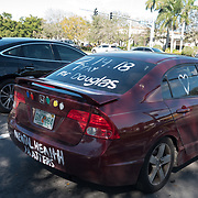 FRIDAY, FEBRUARY 16- 2018---CORAL SPRINGS, FLORIDA--<br /> A victim support painted car drives in Coral Springs, days after a  school massacre at Marjory Stonemason Douglass High School in neighboring Parkland.<br /> (Photo by Angel Valentin/FREELANCE)