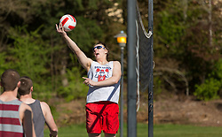 Intramural sand volleyball game on a warm spring day at PLU on Thursday, April 16, 2015. (Photo: John Froschauer/PLU)