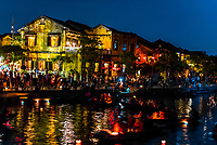 Boats on the Thu Bon River, Hoi An Full Moon Lantern Festival, Hoi An, Vietnam.