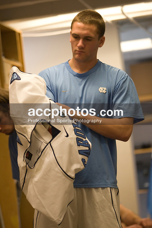 22 March 2008: North Carolina Tar Heels Scott Bollert in the locker room before playing the Maryland Terrapins at Fetzer Field in Chapel Hill, NC.