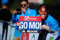 Mo Farah Mask at the Start<br /> The Virgin Money London Marathon 2014<br /> 13 April 2014<br /> Photo: Javier Garcia/Virgin Money London Marathon<br /> media@london-marathon.co.uk