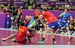 Marko Bezjak #25 of Slovenia during handball match between National Teams of Slovenia and Spain at Day 9 of 24th Men's Handball World Championship Qatar 2015 on January 23, 2015 in Duhail Handball Sports Hall, Doha, Qatar. Photo by Slavko Kolar / Sportida