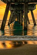 Sunrise at Deerfield Beach Pier along the Atlantic Ocean in Broward County, Florida